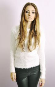 Fluffy Long Sleeve Jumper In White